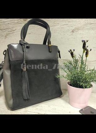 Женская сумка со вставкой из натуральной замши baliviya 86357 серая