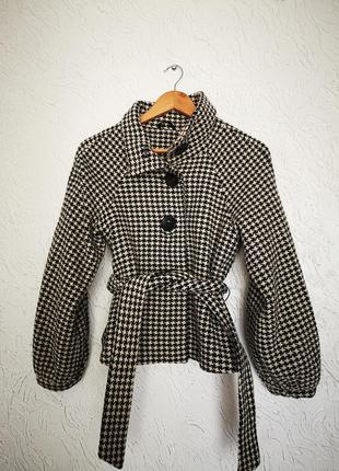Гусяча лапка, принт, пальто
