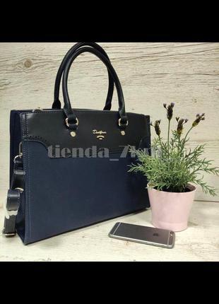 Офисная женская сумка (держит форму) от david jones cm5345 синяя