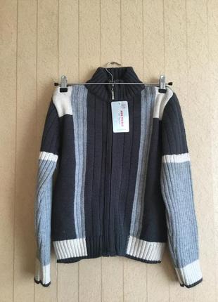 Вязанная кофта на замочке для мальчика на рост 140-146