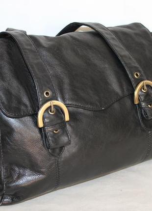 Классическая кожаная сумка f+f 100% натуральная кожа