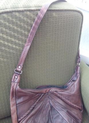 Кожаная сумка через плече натуральная кожа шоколодная