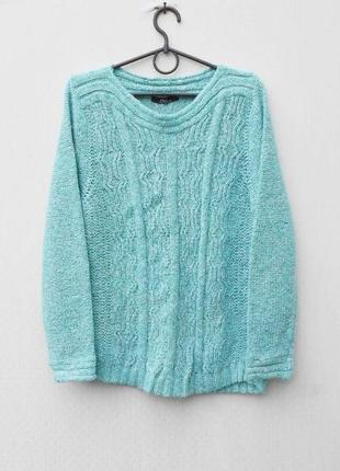 Бирюзовый осенний зимний 12% шерстяной свитер свитшот с косами с длинным рукавом 🌿