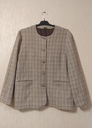 Шерстяной бежевый пиджак жакет гусиная лапка большого размера 16-18