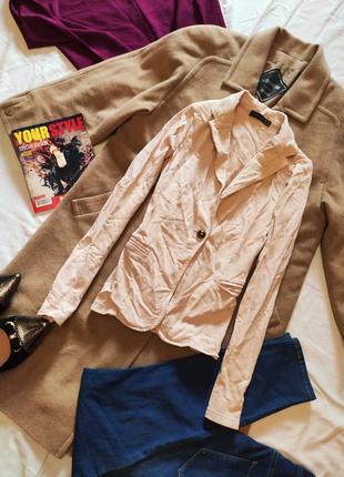 Трикотажный пиджак атмосфера персиковый бежевый