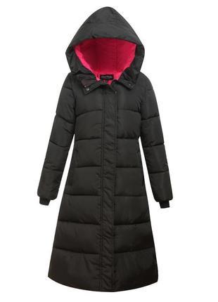 Черная зимняя длинная приталенная парка, длинное пальто, пуховик, 48, 50, 52
