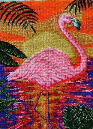 """Вышивка """"розовый фламинго в лучах заката"""", вышитая вручную бисером"""