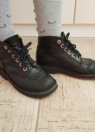 Дерби ботинки кожаные черные kickers башмаки бойфренд унисекс