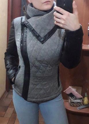 Осеннее теплое полупальто короткое пальто кожаные рукава