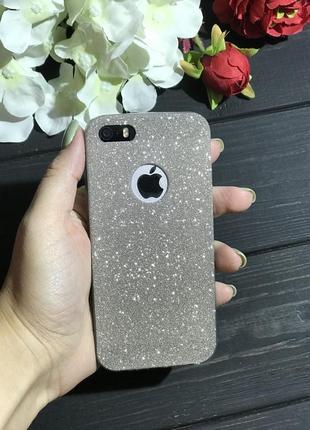 Крутой силиконовый чехол с блёстками на айфон iphone 5/5s