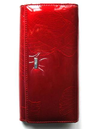 Большой кожаный лаковый кошелек листья, 100% натуральная кожа, есть доставка бесплатно
