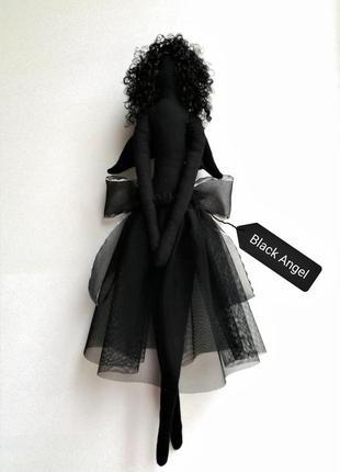 Интерьерная кукла. чёрный ангел тильда