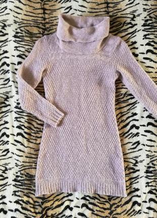 Длинный свитер тёплый платье гольф кофта вязаная