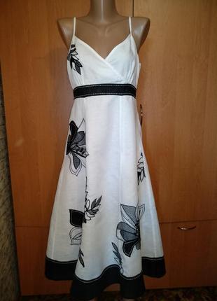 Роскошное льняное платье сарафан лён и хлопок пог-47 см