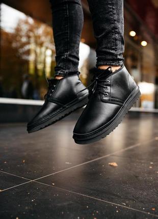 Шикарные мужские сапоги угги ugg neumel leather black чёрные 😃(зима)