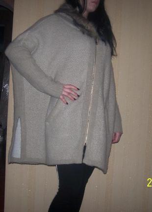 Вязаное супер пальто манто  бренд zebra