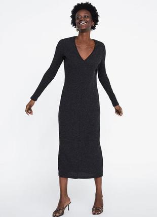 Теплое вязанное платье zara в рубчик s-m-l
