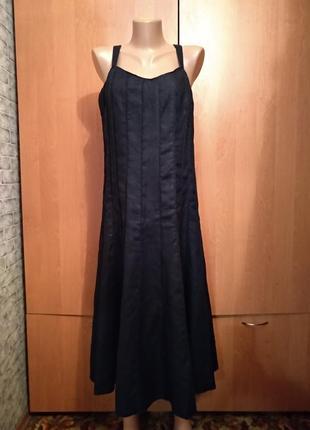 Превосходное льняное платье сарафан, лён, из льна пог-49 см
