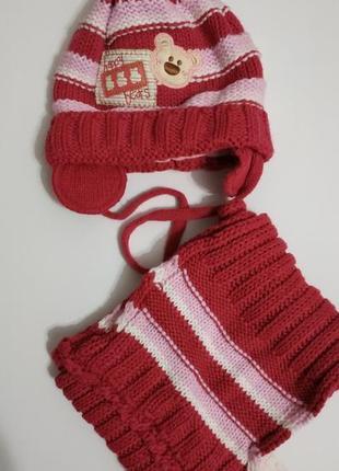 Зимний комплект шапка и шарф для девочки 46-48 р.