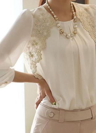 d548871324c Нарядная белая блуза с кружевом