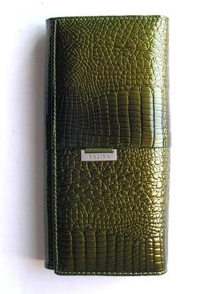 Большой кожаный лаковый кошелек хаки, 100% натуральная кожа, есть доставка бесплатно