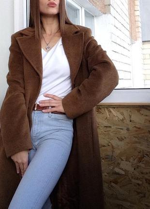 Пальто шерстяное + комплект / итальянское / пальто миди / бежевое пальто