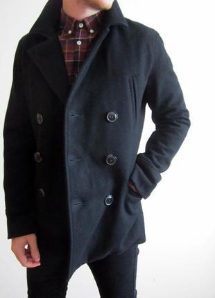 Мужское пальто superdry - commodity mens wool slim pea coat