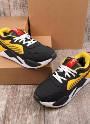 Стильные мужские зимние кроссовки на меху черные с жёлтым хит кросы