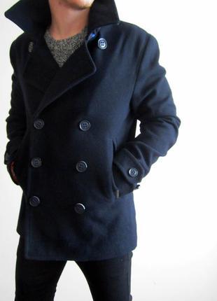 Мужское пальто superdry - commodity mens wool navy slim pea coat
