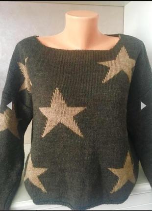 Трендовый свитер свитшот в принт «звёзды» италия
