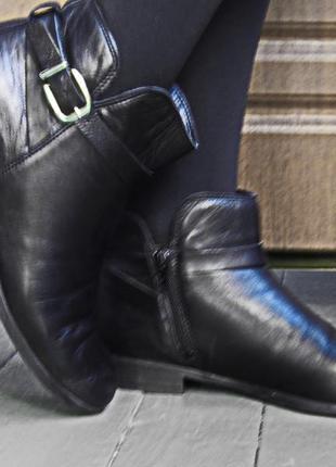 Ботинки женские утепленные кожанные на низком каблуке a by andre