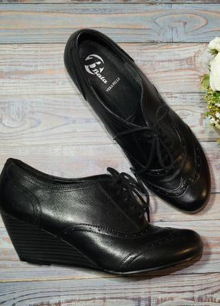 🌿бесплатная доставка🌿41🌿bata. кожа. фирменные туфли на танкетке