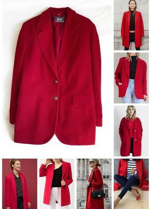Шикарне пальто блейзер  40% шерсть бордо марсала/шерстяное пальто пиджак