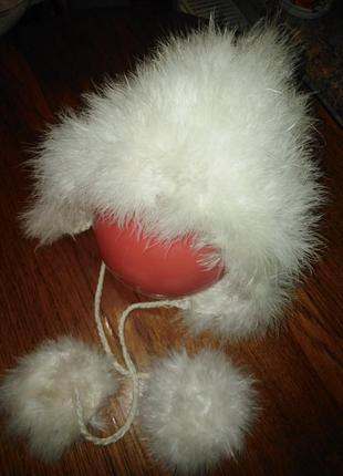 Детская шапочка с лебяжьего пуха + подарок ( шарф )
