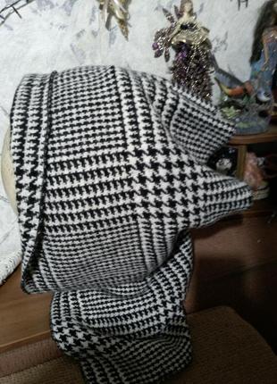 Шапка-капор-капюшон (шерсть) в гусиную лапку с прорезью для хвоста,odelyn smith,uk