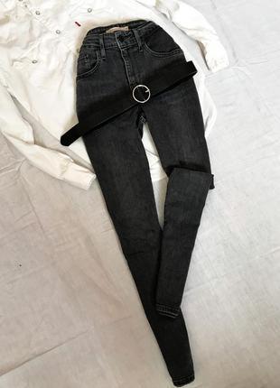 Шикарные серые джинсы скинни на высокой посадке от levi's