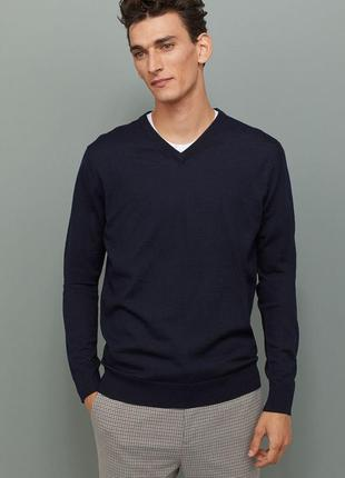 Кофта h&m pure merino wool men's v-neck sweater