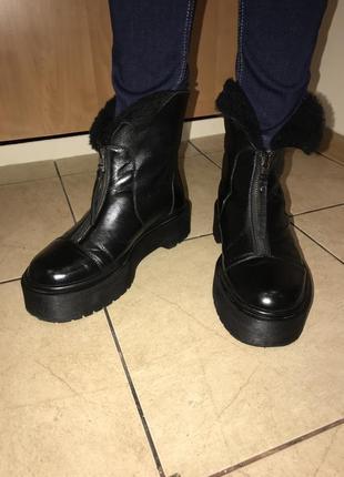 Ботинки кожаные, зимние