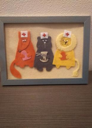"""Забавная картина-панно для детской комнаты """"зверюшки-доктора""""!!!"""