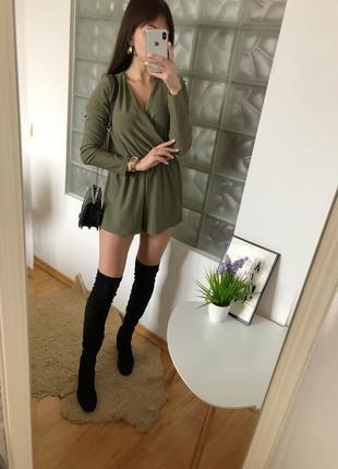 Женский комбинезон с длинными рукавами хаки ромпер missguided