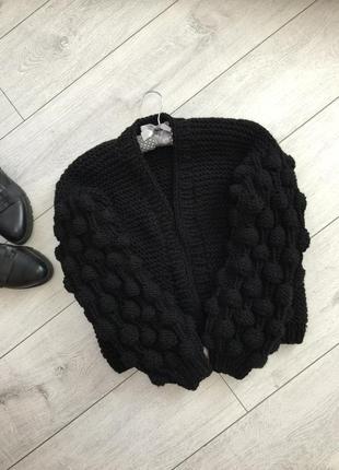 Распродажа!!!!стильный бомбер/обьемные рукава/крупная вязка/ мода2019
