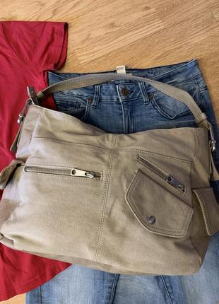 Фирменная бежевая сумка-шоппер esprit,большая сумка,сумочка