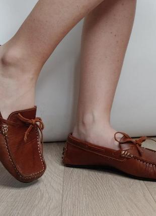 Удобные мокасины из натуральной коричневый кожи, туфли на плоской подошве, лоферы