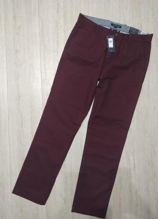 Бордовые брюки tommy hilfiger, оригинал. хлопковые брюки, штаны