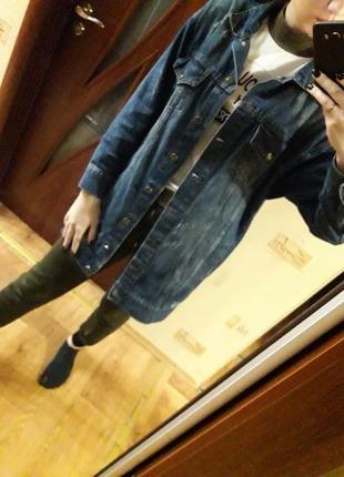 Джинсовка оверсайз, джинсовая куртка, удлиненная джинсовка