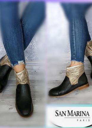 38р кожа!новые франция san marina кожаные ботинки,полусапожки