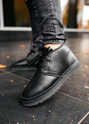 """Шикарные мужские теплые зимние ботинки ugg neumel """"leather black"""""""