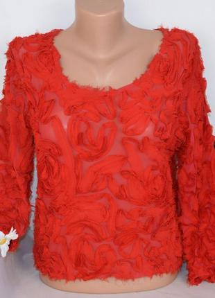 Брендовая красная блуза топ oh my love london англия вискоза узор розы этикетка