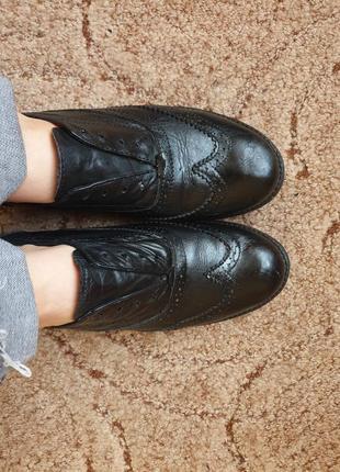 Стильные туфли кожа лоферы челси
