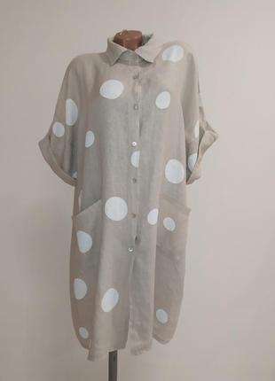 Льняное платье-рубашка италия
